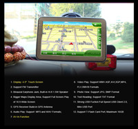Navigation GPS 4,3 pouces + CPU MTK3551 + 128M 4G + Bluetooth + AV-IN + Carte 3D mondiale gratuite
