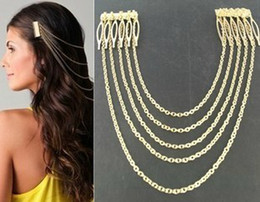 Wholesale Hair Clip Comb Chains - NEWEST WOMEN'S VINTAGE GOLD SILVER CHAINS FRINGE TASSEL HAIR COMB CUFF WOMEN HEAD CLIPS HAIRBAND