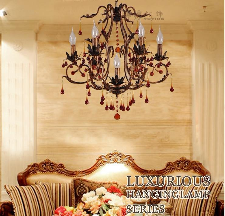Continental Crystal Candle Lamp Vintage Wrought Iron Chandelier Bedroom Dining Room Lighting