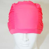 Wholesale Turban Swim Hats - 1 pcs Ladies Swimming Hat Swim Cap Turban Elasticated Color Red or Blue