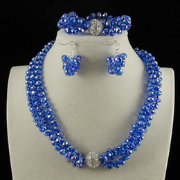 China Blue Color NZ - 3Row 6x8mm Blue Color Crystal Beads Necklace Bracelet Earring Jewelry Set Rhinestone Magnet Clasp