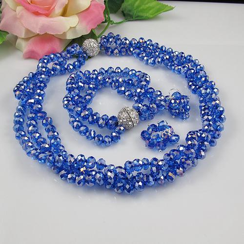 3OW 6x8mm blå färg kristall pärlor halsband armband örhängen smycken set rhinestone magnet lås