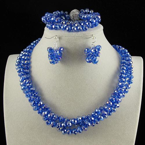 3Row 6x8mm Blue Color Crystal Beads Necklace Bracelet Earring Jewelry Set Rhinestone Magnet Clasp