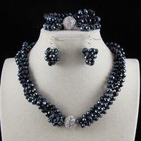 colar de contas de cristal azul escuro venda por atacado-3Row 6x8mm Dark Blue Crystal Beads Colar Pulseira Brinco Set Jóias Ímã Rhinestone Fecho