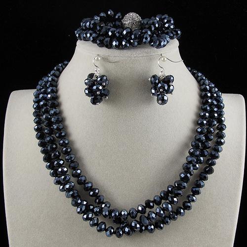 3 Reihen 6x8mm Dark Blue Kristall Perlen Halskette Armband Ohrring Schmuck Set Strass Magnetverschluss