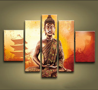 Wholesale Handmade Buddha Panel - Framed 5 Panels 100% Handmade Asian Art Feng Shui Buddha Painting on Canvas Wall Art Modern Chinese Home Decoration