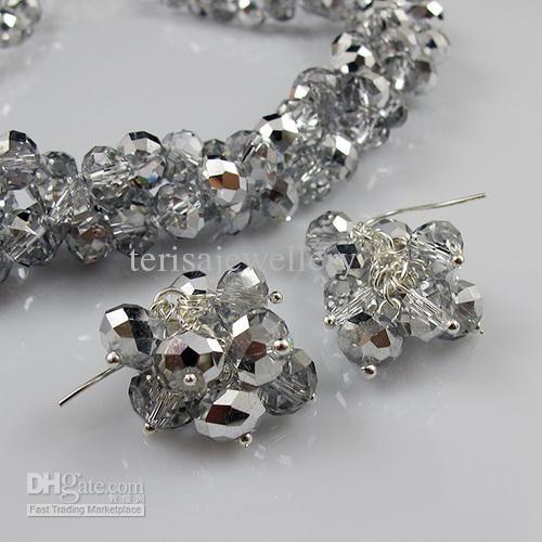 3Row 6x8mm 그레이 컬러 크리스탈 비즈 20'Necklace 팔찌 귀걸이 쥬얼리 세트 Rhinestone Magnet Clasp
