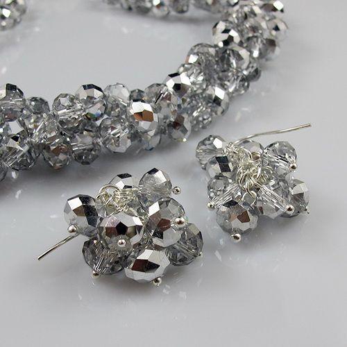 3Row 6x8mm Gris Couleur Cristal Perles 20'Necklace Bracelet Boucle D'oreille Bijoux Ensemble Strass Aimant Fermoir