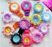 Wholesale Waffle Knit Headbands - 12 Colors Gerbera 4''Baby Hair Bows Crochet Headband Knit Waffle With Flower+ Hair Bows
