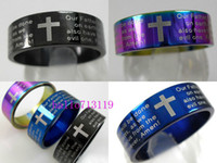 Wholesale English Bible Rings - Wholesale Jewelry Lots 50pcs English Lord's Prayer Bible Cross Stainless Steel Rings
