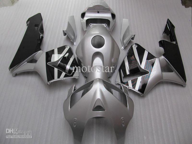 Gratis Anpassa Silver Injection Mold ABS Fairing Kit för Honda CBR600RR 2005 2006 CBR 600RR CBR600 F5 05 06 Fairings Set
