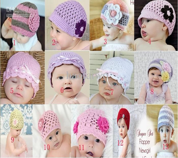 Lovely Crochet Baby Flower Hat Hand Knitted Baby Hat Crochet Girls ... e3726371ef4