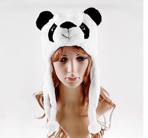 Vente chaude Bande Dessinée Animal Panda Moelleux En Peluche Chapeau Mignon Cap Doux Beanie Oreilles Rabats De Noël Cadeau