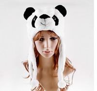 desenhos animados da panda do natal venda por atacado-Chapéu de festa de Inverno Dos Desenhos Animados Animal Panda Macio Chapéu de Pelúcia Boné Cap Macio Beanie Ear Flaps Natal favor Presente