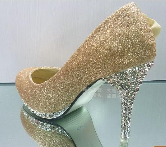 Gold flower wedding shoes high heel shoes diamond party evening gold flower wedding shoes high heel shoes diamond party evening shoes bridal wedding shoes junglespirit Gallery