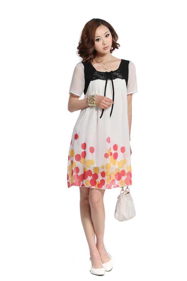 Plus Size New Maternity Dress Elegant Stylish Chiffon Maternity