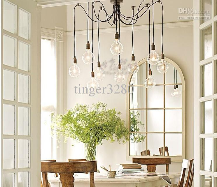 Nordic American Vintage Wrought Iron Chandelier Lamp Lights Edison Living Dining Room