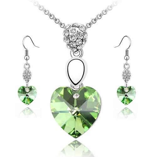 best selling Multi-Cut Crystal Heart Necklaces Sets Pendant + Earrings