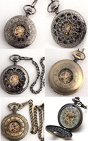 Wholesale Pocket Watch Chain Fob Gold - 6pcs Black Gold Copper Skeleton Fob Chain Watches Mechanical Pocket Watch Men Wedding Pendant Chains