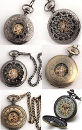 Wholesale Gold Skeleton Pocket Watch - 6pcs Black Gold Copper Skeleton Fob Chain Watches Mechanical Pocket Watch Men Wedding Pendant Chains