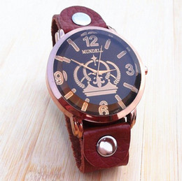 Wholesale Crown Leather Watch - New Vintage Handmade 100% Genuine Leather Band Watches Crown Big Dial Fashion Men's women Wristwatch xmas gifts