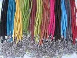 18 colar de cordão de couro Desconto 120pcs * 3mm 18-20inch ajustável assorted cor camurça colar de couro com fecho de lagosta