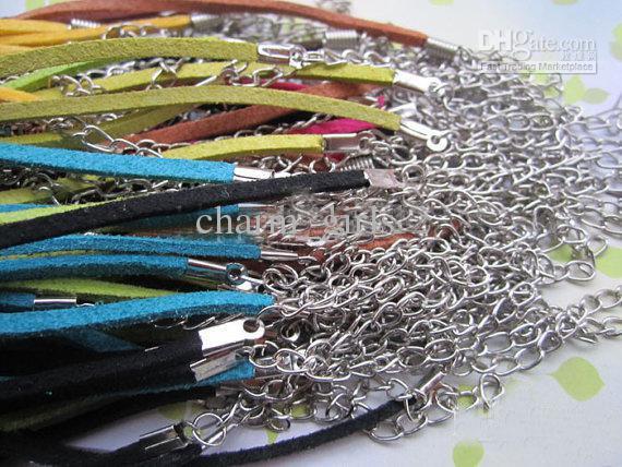 120pcs * 3m m 18-20inch cordón ajustable clasificado color gamuza collar con cierre de langosta