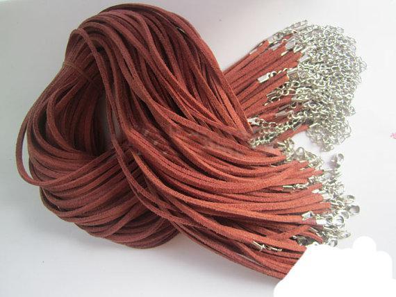 120 stks * 3mm 18-20 inch verstelbare geassorteerde kleur suede lederen ketting koord met kreeftensluiting