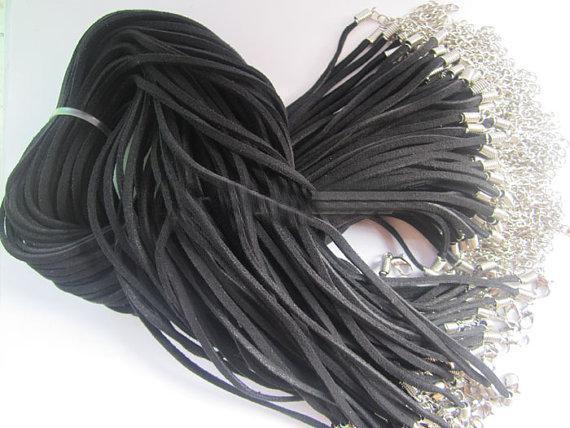 랍스터 버클 120pcs * 3mm 18-20inch 조정 모듬 된 색상 스웨이드 가죽 목걸이 코드