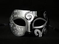 hommes mardi gras achat en gros de-Sliver Black Half Faces Masque Pour Hommes Masque De Gladiateur Romain Vénitien Mardi Gras Masquerade Halloween Costume Party Maks