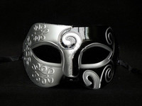 Wholesale venetian masquerade masks for men - Sliver Black Half Faces Mask For Men Roman Gladiator Mask Venetian Mardi Gras Masquerade Halloween Costume Party Maks