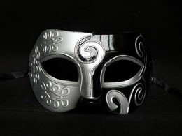 Wholesale Masquerade Mardi Gras Mask - Sliver Black Half Faces Mask For Men Roman Gladiator Mask Venetian Mardi Gras Masquerade Halloween Costume Party Maks