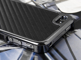 Wholesale Iphone Chrome Carbon Fiber Case - Carbon Fiber Hard Chrome Cover Case for Mobile phone 4 w Screen Film Gray