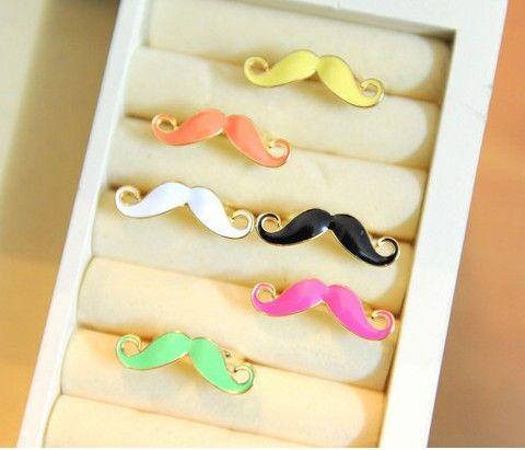 100pcs * Hot sale coloré Mustache Annulaire pas cher Barbe LOVELY JOAILLERIE