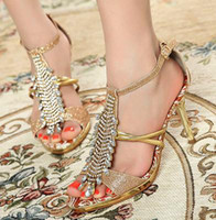 Wholesale T Bars Heels - Party Evening Gold Crystal Stones T-Bar High Heel Dress Shoes Size 35 to 39