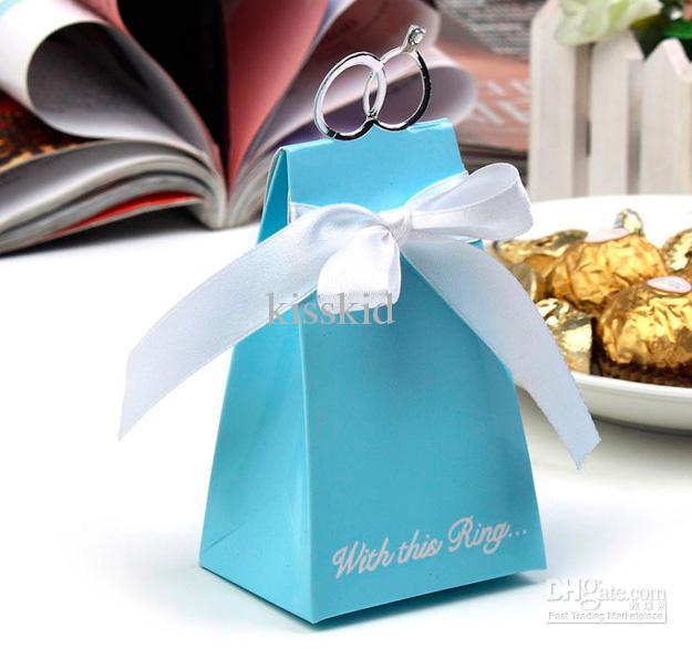 100 bröllop faovrs blå ring godis lådor låda, favör box, söta presentförpackningar