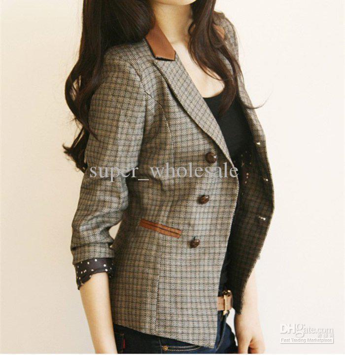 2012 Women's Blazer Plaids Suit Vintage Leather Patchwork Cotton ...