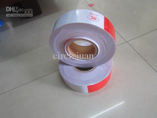 50M / 롤 도매 자동차 반사 게시 화이트 / 레드 50m * 5cm 위험 경고 테이프 중국에서