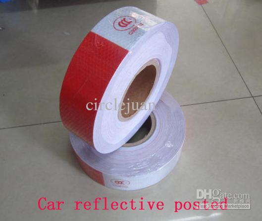 50m / roll groothandel auto reflecterende gepost wit / rood 50m * 5 cm gevaar waarschuwingstape uit China