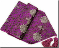 Wholesale Blue Coffee Table - Purple Damask Table Runners Chinese style Dining Table Pads High End Coffee Table Cloths Table Linen Wedding Festive Dinner Party Decoration