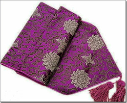 Wholesale Yellow Damask - Purple Damask Table Runners Chinese style Dining Table Pads High End Coffee Table Cloths Table Linen Wedding Festive Dinner Party Decoration
