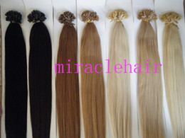 "Wholesale Indian Remy Keratin Black - MIRACLE 18""-24"" 1# black 100g 1g s straight Keratin glue prebonded nail tip U-tip hair extensions INDIAN REMY HAIR"