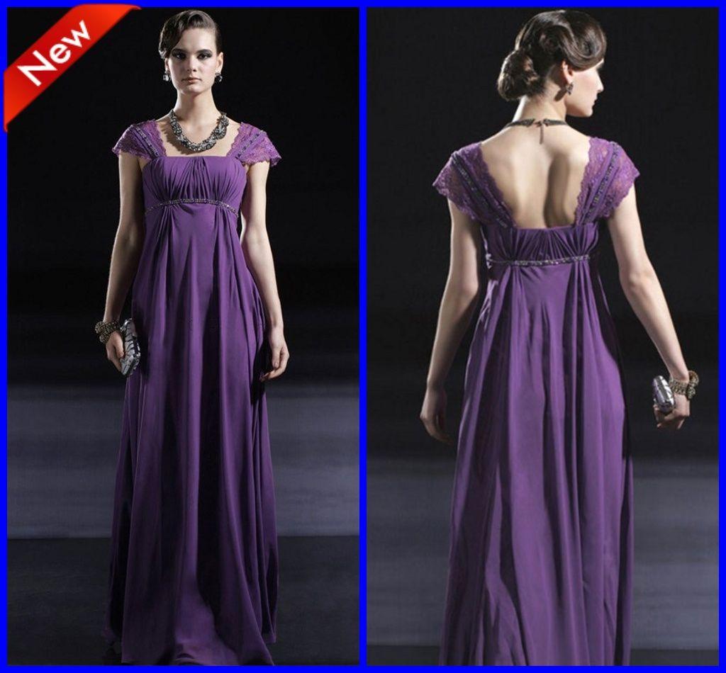 d896ce0f9ebf5 Purple Cap Sleeves Beaded Empire Waist Ruffles Long Formal Maternity  Bridesmaid Dresses for Wedding