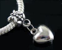 Wholesale Charms Coins - Loving Heart Alloy Big Hole Beads 100pcs lot New Antique Silver Fit European Charm Bracelet MIC