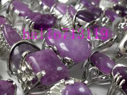 Wholesale Mix Silver Jewerly - Silver plate Amethyst Purple Nature Stone Rings Women Rhinestone Color Mix Charm Rings Wholesale Fashion Jewerly job lot