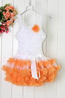 diz boyu turuncu elbiseler toptan satış-Tatiller Balo Diz Boyu Turuncu Kız Elbise Çocuklar Dantel Tutu 1-6Y Giymek Bebek Patchwork Giysileri TD20503-07