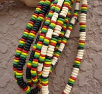 Wholesale Protection Necklaces - mixed style Jamaica Rasta environmental protection paint wooden Beaded punk Reggae folk style necklace