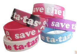 Wholesale Silicone Breast Cancer Bracelets Wholesale - 100pcs Public Promotion Wide Band Pink Ribbon Breast Cancer Prevention Silicone Bracelets Wristband
