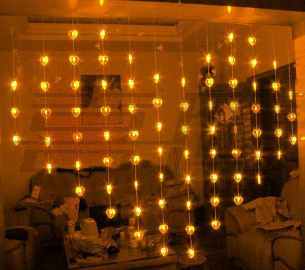 78 LED lights 2m*1.6m Heart shape Curtain Light,Christmas ornament Fairy wedding lights,Icicle light strip Shop window Waterproof