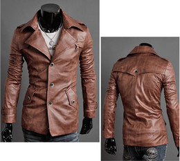 Wholesale Mens Pu Jackets - Mens Pu Leather Jacket  Men's Slim Fit Leather Suit Men's Suit Black,dark brown,light brown 95866